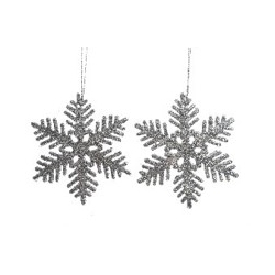 Set of 2 silver glitter snowflakes