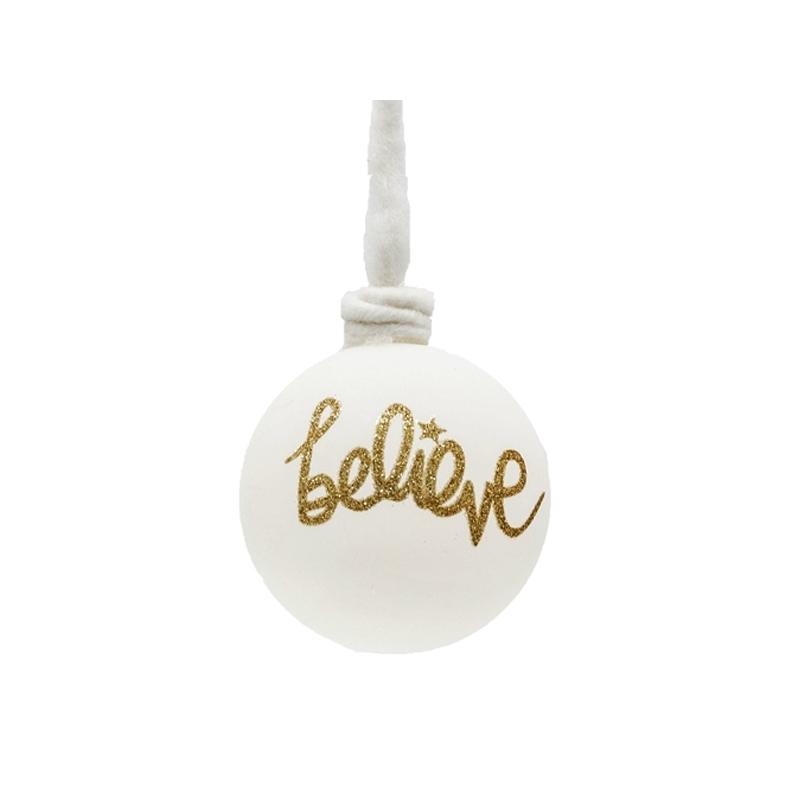 Boule en verre de couleur crème et écriture doré