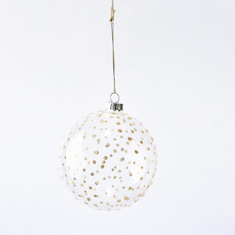 Boule de noël en verre transparent et décoration points or