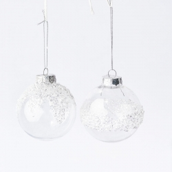 2 transparent and frosted plastic Christmas baubles