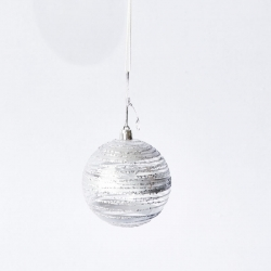 Christmas bauble in transparent plastic and silver