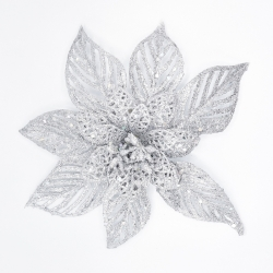 Decorative silver flower with clip