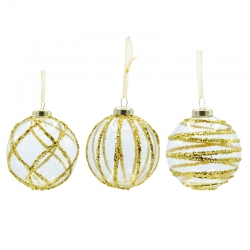 3 transparent glass baubles with golden lines