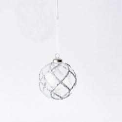 boule en verre transparente avec  lignes 3D argentées en paillettes