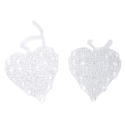 Lot de 2 suspensions coeurs perles transparentes