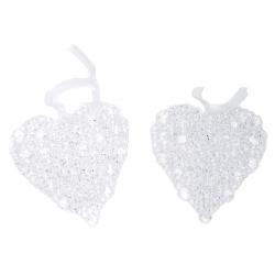 2 transparent pearl hearts