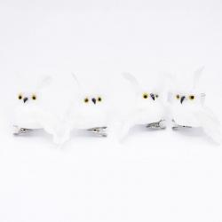 Lot de 4 hiboux fourrure blanche sur clip