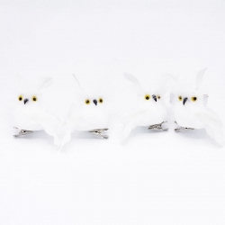 Set of 4 white furry owls with clip