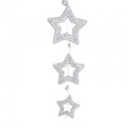 Suspension  3 étoiles argentées paillettes