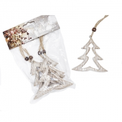 Set of 4 hanging wooden Christmas trees
