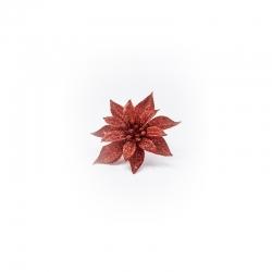 Fleur sur clip à paillettes rouge
