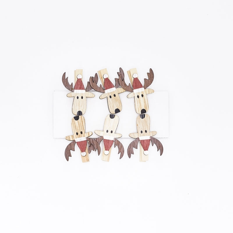 Lot de 6 têtes d'élan en bois sur clip