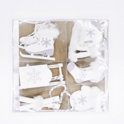 Lot de 6 miniatures  en bois blanc