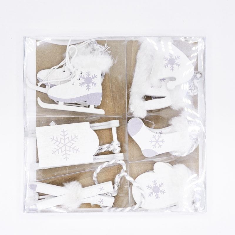 Lot de 6 miniatures  en bois blanc