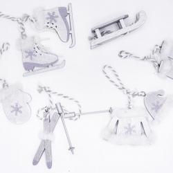 Lot de 6 miniatures  en bois gris