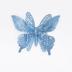 Papillon turquoise paillettes  clip