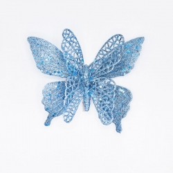 Turquoise glittery butterfly with clip