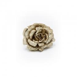 Rose dorée à paillettes sur clip