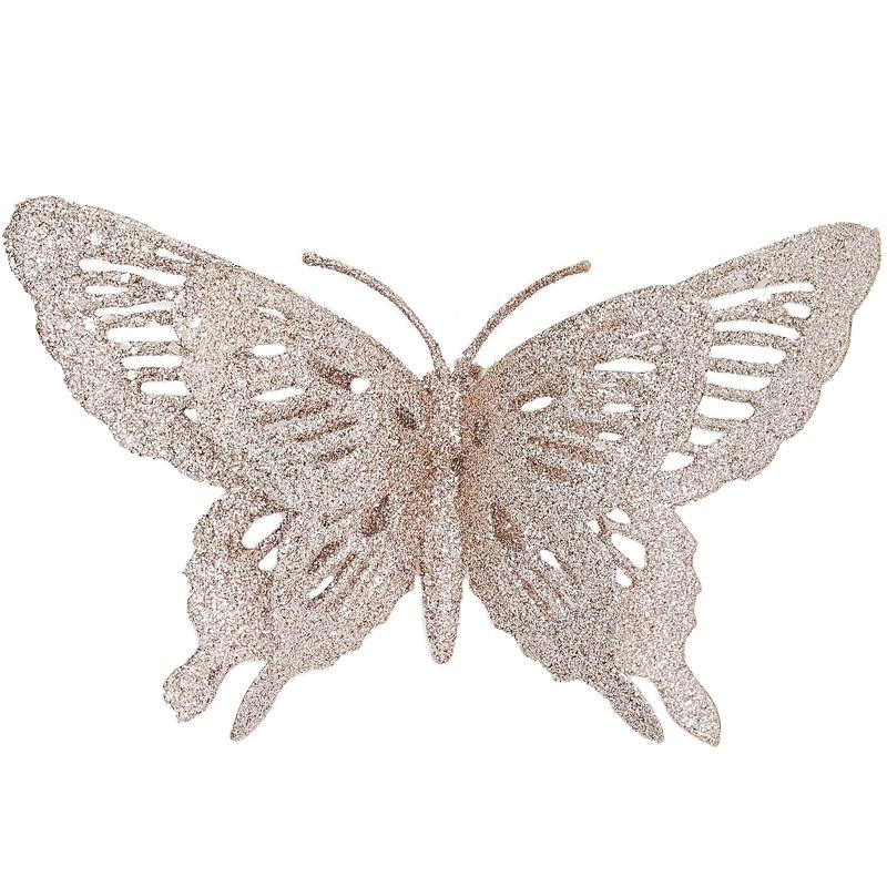 Clip papillon pailletté avec double ailes