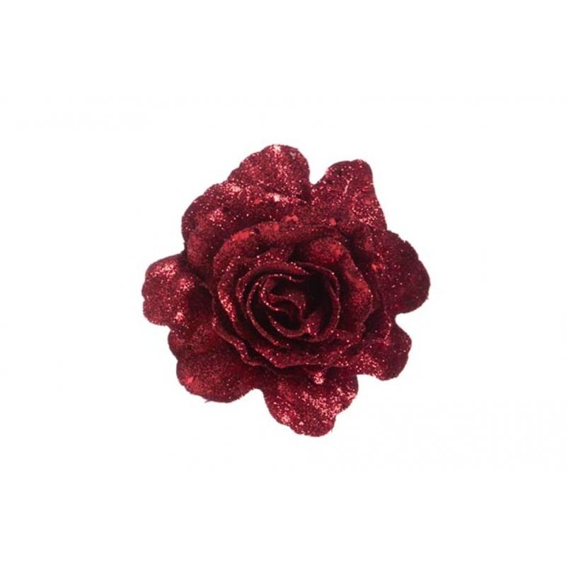 Rose scintillante sur clip