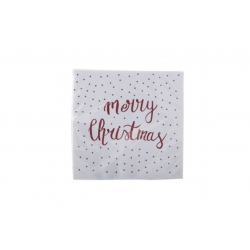 Serviettes en papier BLANC- MERRY CHRISTMAS Rouge