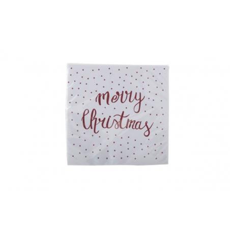 Serviettes en papier BLANC- MERRY CHRISTMAS Rouge