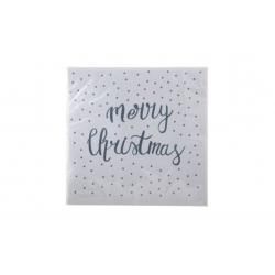 Serviettes en papier BLANC- MERRY CHRISTMAS Gris
