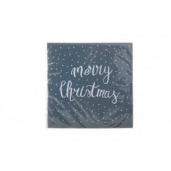 Serviettes en papier Gris- MERRY CHRISTMAS Blanc