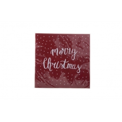 Serviettes en papier Rouge- MERRY CHRISTMAS Blanc