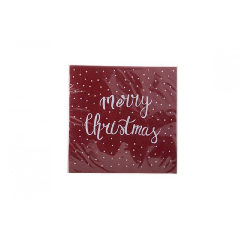 Serviettes en papier Rouge- MERRY CHRISTMAS Blanc