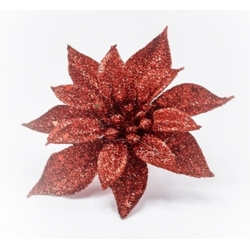 Flower on red glitter clip