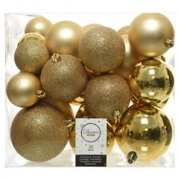 26 kerstballen classic goud plastic
