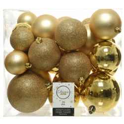 26 classic gold plastic Christmas baubles