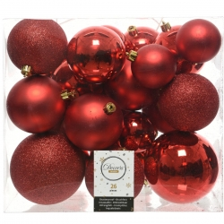 26 classic red plastic Christmas baubles
