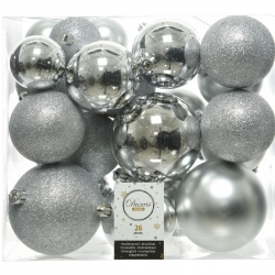 26 boules de Noël classiques argent plastique