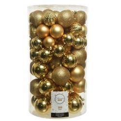 100 classic Christmas baubles - gold - plastic maxi