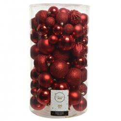 100 kerstballen classic rood plastic maxi
