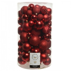 100 classic red plastic Christmas baubles maxi