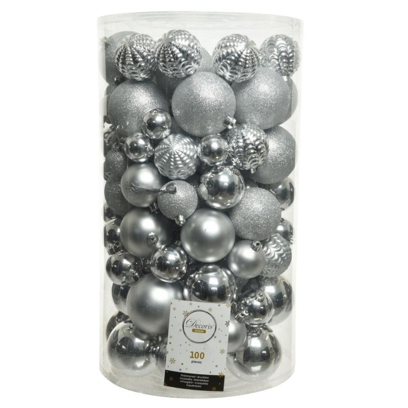 Boule de Noël Classic  Argent  plastique Maxi