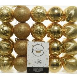 40 plastic kerstballen goud medium