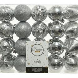 40 classic silver plastic Christmas baubles medium