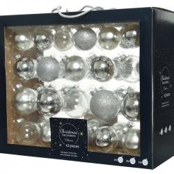 42 boules de Noël classiques argent