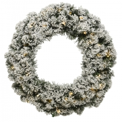 Snowy artificial wreath with lights  - 1