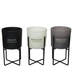 Trio of scented candles on stand