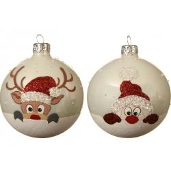 6 Kerstballen kerstman en rendier