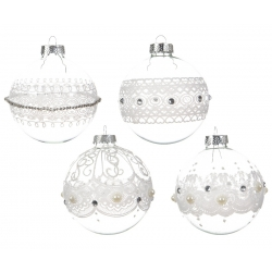 12 transparent beaded Christmas baubles