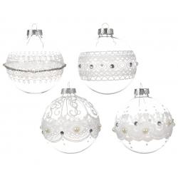 12 lichte kerstballen met parels