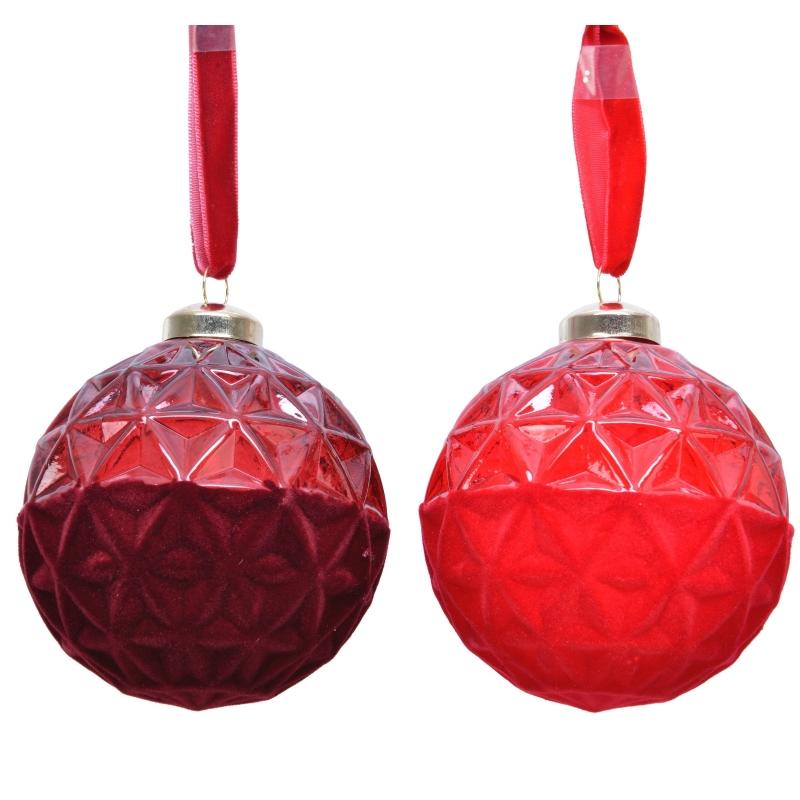 2 Boules de Noel Bordeau & Rouge Floquées