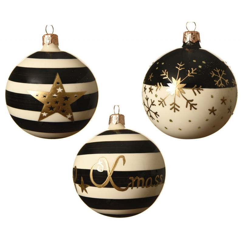 6 Boules de Noel lignées à Flocons et Etoiles