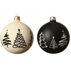 3x2 white & black woollen Christmas baubles